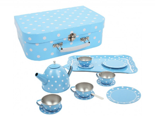 Blue Polka Dot Tin Tea Set and Case. Bigjigs BJ614